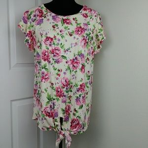 Bombom floral tie front top with flutter sleeves